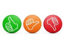 Afbeelding met buttons voor duimpje omhoog, duimpje twijfel en duimpje omlaag