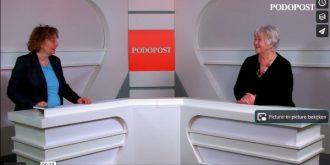 Screenshot uit de 1e Podopost web-tv-uitzending.