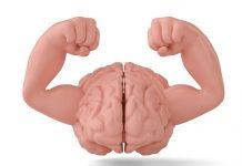Illustratie van hersenen met spierballen